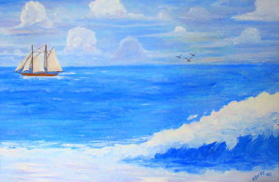 Painting - Thunder Heads At Sea by Ashley Goforth