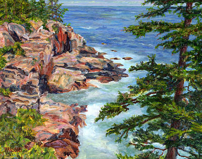 Park Scene Painting - Thunder Hole Acadia National Park Maine by Pamela Parsons