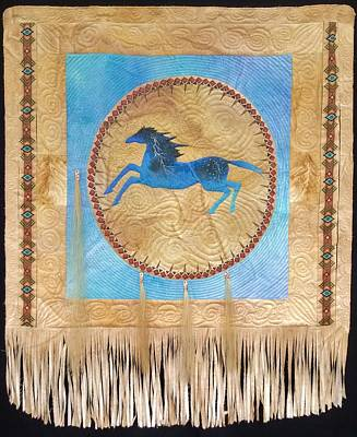 Mixed Media - Sold Thunder Horse Shield  by Jan Reich