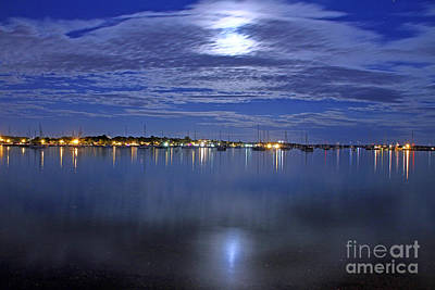 Photograph - Thunder Moon Over Bristol Harbor by Butch Lombardi