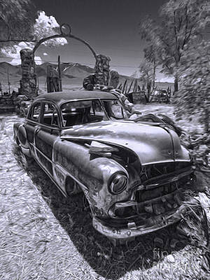 Photograph - Thunder Mountain Indian Monument -  Car Wreck by Gregory Dyer