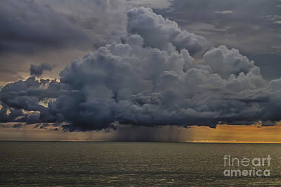 Thunder Storm Cloud Over The Gulf Of Mexico Art Print by Robert Wirth