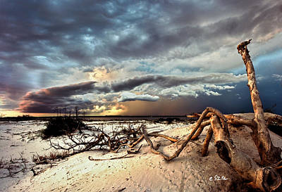 Photograph - Thunder Storm Clouds Desert Landscape Sand Dune Art Prints by Eszra Tanner