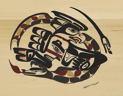 Native American Thunderbird Art Photograph - Thunderbird And Lightning Snake by Micah McCarty Makah tribe
