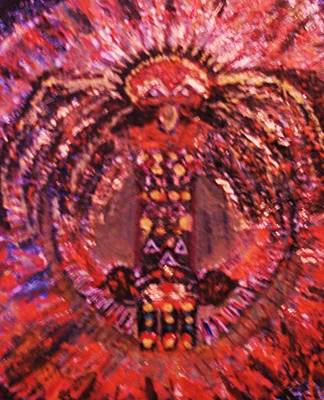 Birght Painting - Thunderbird In Red by Anne-Elizabeth Whiteway