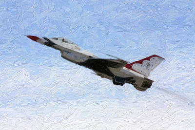 Jet Mixed Media - Thunderbird Jet In Flight by Gravityx9 Designs