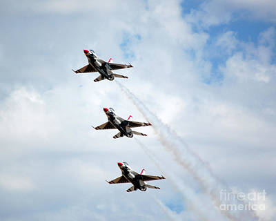 Photograph - Thunderbirds Jet Formation Of 3 by Debra Thompson