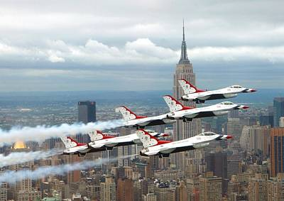 New York City Skyline Photograph - Thunderbirds Over New York City by U S A F