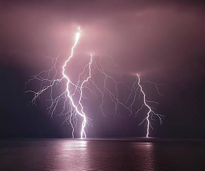 Lightning Wall Art - Photograph - Thunderbolt Over The Sea by Nini_filippini