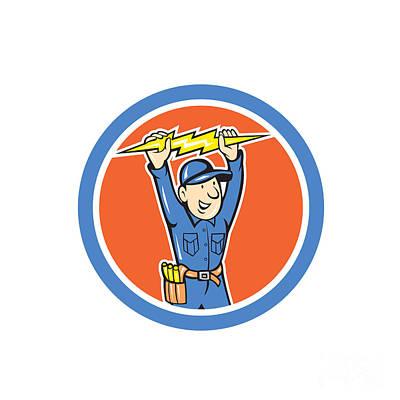 Thunderbolt Toolman Electrician Lightning Bolt Cartoon Print by Aloysius Patrimonio