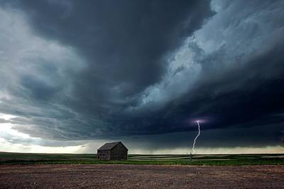 Lightning Bolt Photograph - Thunderstorm And Barn by Roger Hill