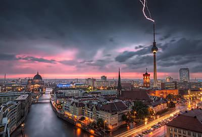 Thunderstorm At Alexanderplatz In Berlin Germany Art Print