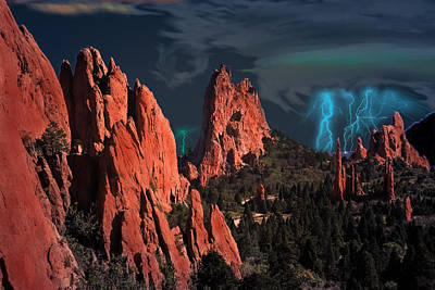 Digital Art - Thunderstorm At Garden Of The Gods by J Griff Griffin