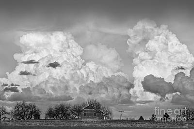 Bo Insogna Photograph - Thunderstorm Clouds And The Little House On The Prarie Bw by James BO  Insogna