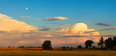 Photograph - Thunderstorm Front Blue Sky And Moon Panorama by James BO  Insogna