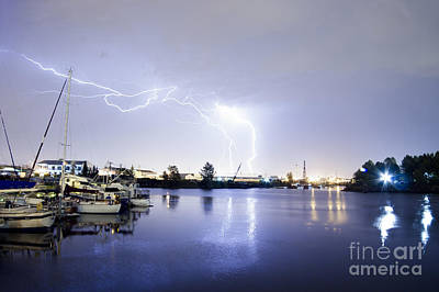 Lightning Photograph - Thunderstorm Lightning Over Thea Foss Waterway Tacoma by Christopher Boswell