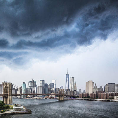 Photograph - Thunderstorm Over Manhattan Downtown by Alex Potemkin