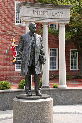 Photograph - Thurgood Marshall Statue With Maryland State Flag by Mark Dodd