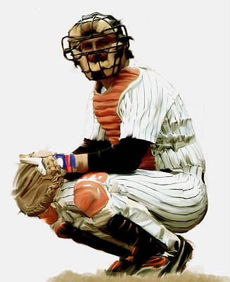 Painting - Thurman Munson  by Iconic Images Art Gallery David Pucciarelli