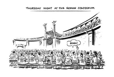 Ancient Rome Drawing - Thursday Night At The Roman Colosseum by Ed Fisher