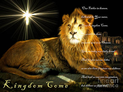Lion Digital Art - Thy Kingdom Come 201502113brun With Prayer by Wingsdomain Art and Photography
