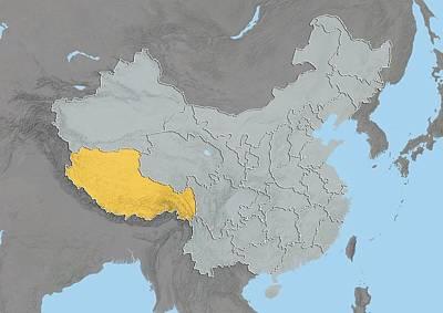Tibet, China, Relief Map Art Print