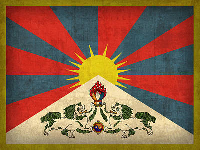 Flag Mixed Media - Tibet Flag Vintage Distressed Finish by Design Turnpike