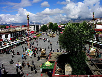 Photograph - Tibet - Lhasa - City View - Bazaar by Jacqueline M Lewis