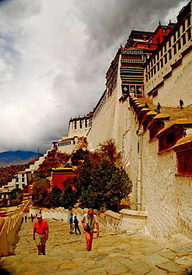 Photograph - Tibet - Lhasa - Potala Palace Ascent by Jacqueline M Lewis