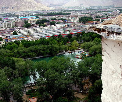 Photograph - Tibet - Lhasa - Potala Palace Panoramic View by Jacqueline M Lewis