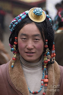 Gold Earrings Photograph - Tibetan Beauty - Kham by Craig Lovell