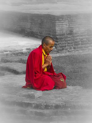 Justin Woodhouse Photograph - Tibetan Buddhist Monk Meditates by Kaleidoscopik Photography