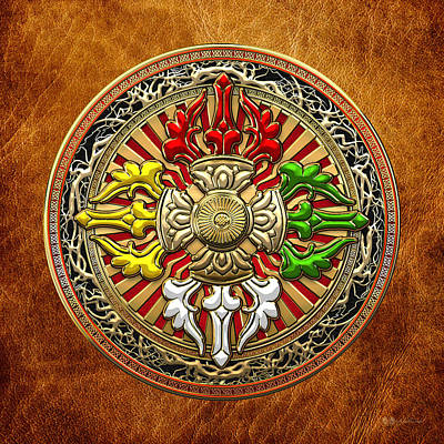 Digital Art - Tibetan Double Dorje Mandala - Double Vajra On Brown Leather by Serge Averbukh