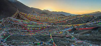 Tibetan Buddhism Photograph - Tibetan Flag Sunrise by James Wheeler