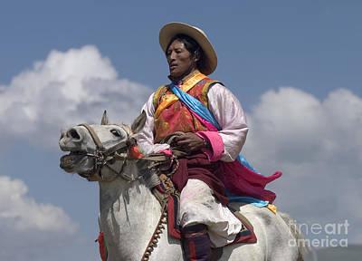 Photograph - Tibetan Horseman - Litang Horse Festival Tibet by Craig Lovell
