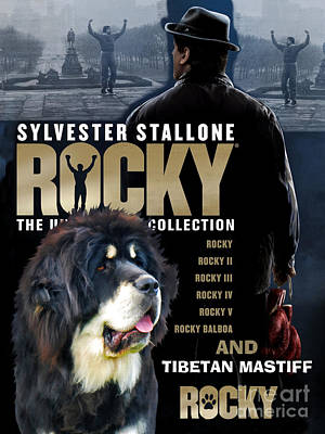 Painting - Tibetan Mastiff Art Canvas Print - Rocky Movie Poster by Sandra Sij