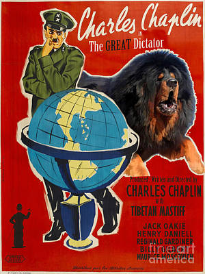 Painting - Tibetan Mastiff Art Canvas Print - The Great Dictator Movie Poster by Sandra Sij