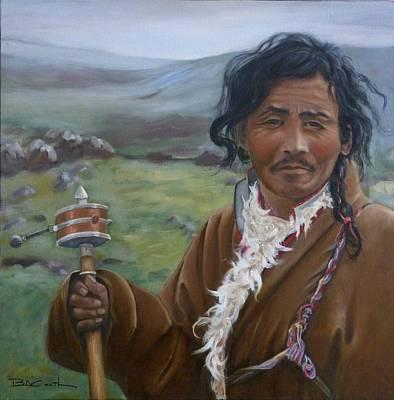 Tibetan Nomad With Prayer Wheel Art Print by Birgit Coath