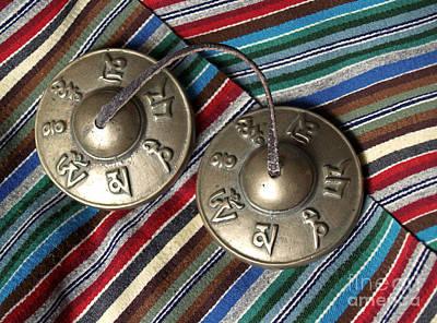 Tibetan Prayer Bells On Woven Scarf Art Print by Anna Lisa Yoder