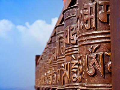 Tibetan Prayer Wheels Art Print by Nila Newsom