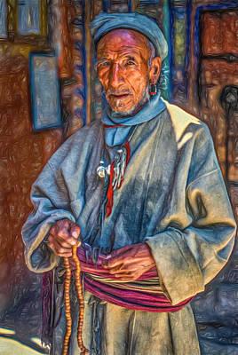 Old Man Digital Art - Tibetan Refugee - Paint by Steve Harrington