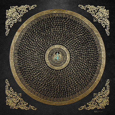 Digital Art - Tibetan Thangka - Green Tara Goddess Mandala With Mantra In Gold On Black by Serge Averbukh