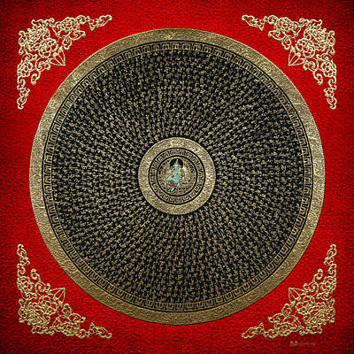 Digital Art - Tibetan Thangka - Green Tara Goddess Mandala With Mantra In Gold On Red by Serge Averbukh