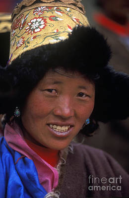 Photograph - Tibetan Woman In Fur Hat - Tibet by Craig Lovell