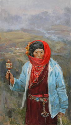 Tibet Painting - Tibeten by Victoria Kharchenko