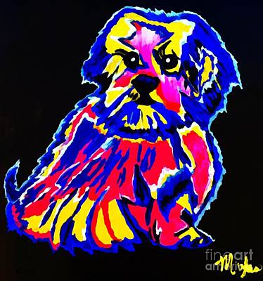 Painting - Tibetin Lhasa Apsos Dog La by Saundra Myles