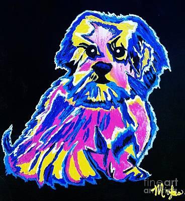 Painting - Tibetin Lhasa Apsos Dog. Lg by Saundra Myles