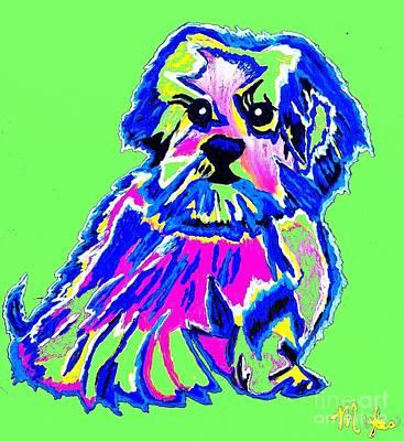 Painting - Tibetin Lhasa Apsos Dog by Saundra Myles