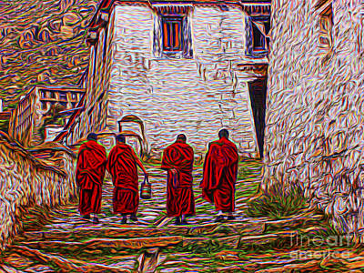 Photograph - Tibetin Monks Painting by Rick Bragan