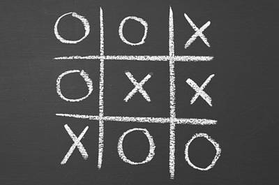 Blackboard Photograph - Tic-tac-toe On A Chalkboard by Chevy Fleet